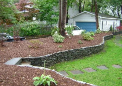 retaining wall and garden